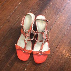 Liz Claiborne orange wedge gladiator sandals